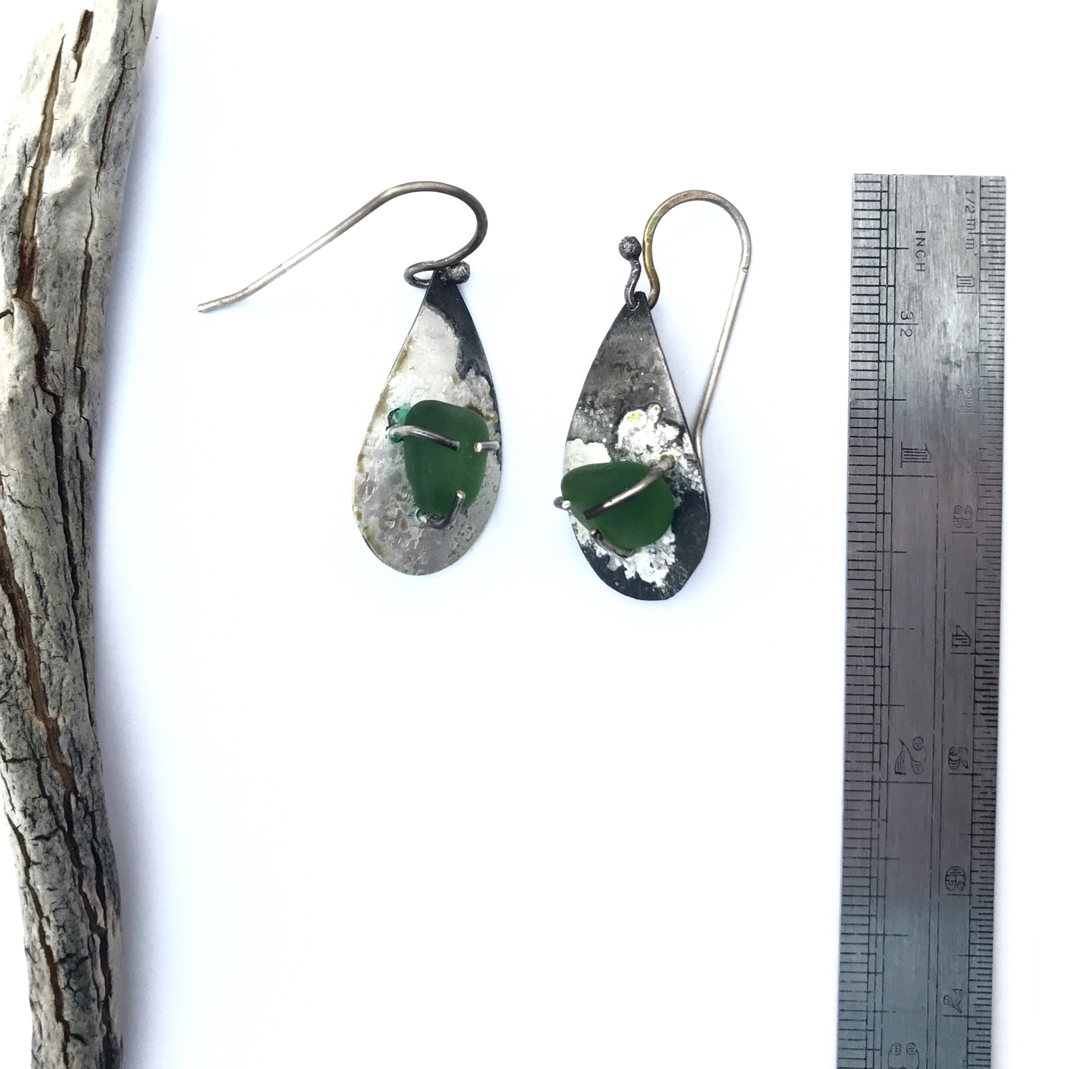 Sold Seagl Earrings One Of A Kind Rustic Silver With Green Teardrop Dangle