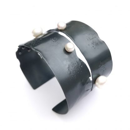 Oxidized Silver Cuff With Pearls