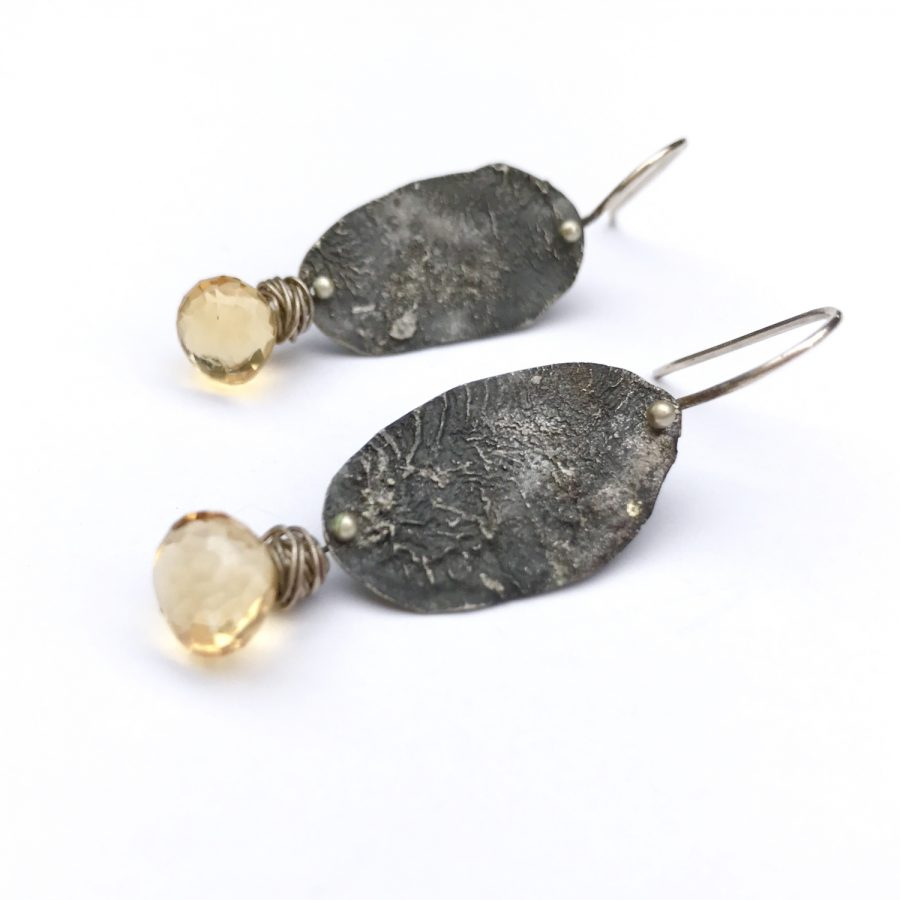 Rustic Silver Earrings With Citrine