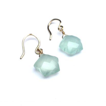Star Earrings - Chalcedon - 14k gold filled