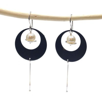 Unique Oxidized Silver Circle Earrings With Pearls