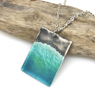 Ocean necklace with beautiful blue and green glass enamel water effect on sterling silver