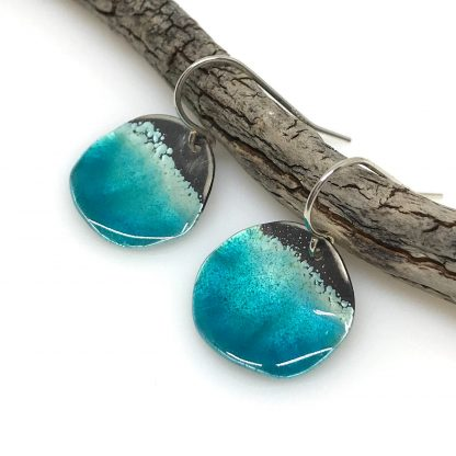 blue enamel ocean earrings