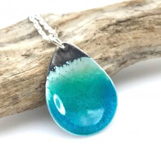blue beach necklace - enamel and silver teardrop