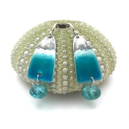 unique wave earrings - blue apatite, glass enamel, sterling silver