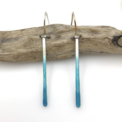Beach Earrings - Enamel - Silver Bar